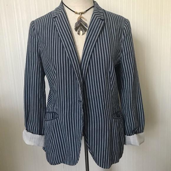 Zara Blue Striped Cotton Blazer